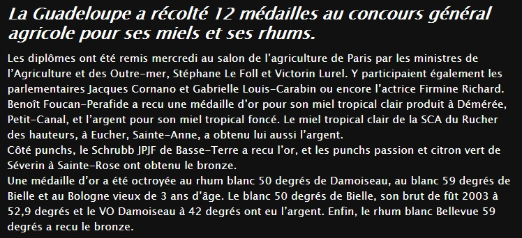 Rhums medailles au salon de l 39 agriculture de paris for Chambre d agriculture paris